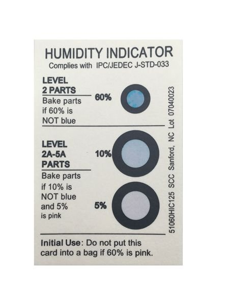 5%10%60% 3 Dots PCB Humidity Indicator Strips